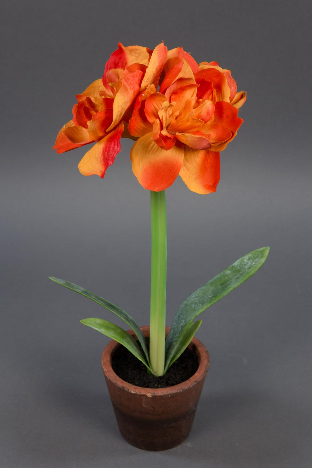 amaryllispflanze 38cm orange ad kunstpflanzen k nstliche amaryllis blumen ebay. Black Bedroom Furniture Sets. Home Design Ideas