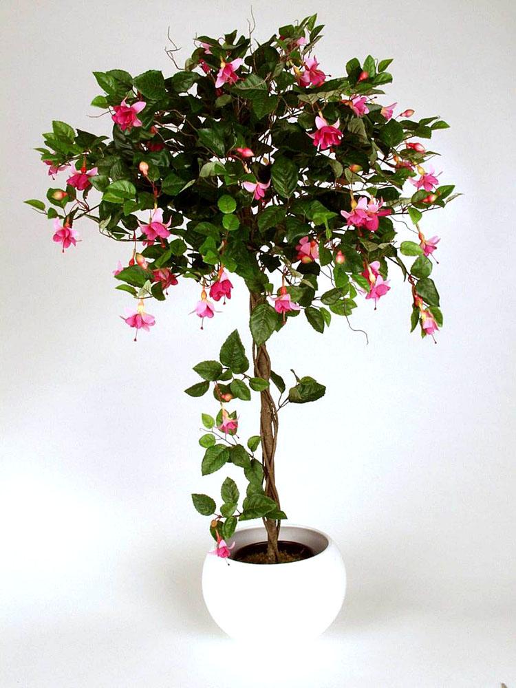 fuchsien kugelbaum 125cm rosa pf kunstbaum fuchsie ebay. Black Bedroom Furniture Sets. Home Design Ideas