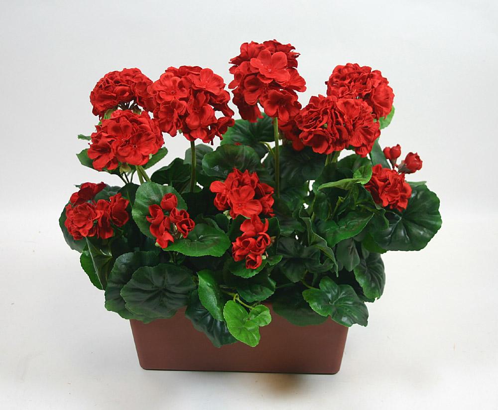 geranienkasten 45cmx40cm rot dp kunstpflanzen geranie. Black Bedroom Furniture Sets. Home Design Ideas
