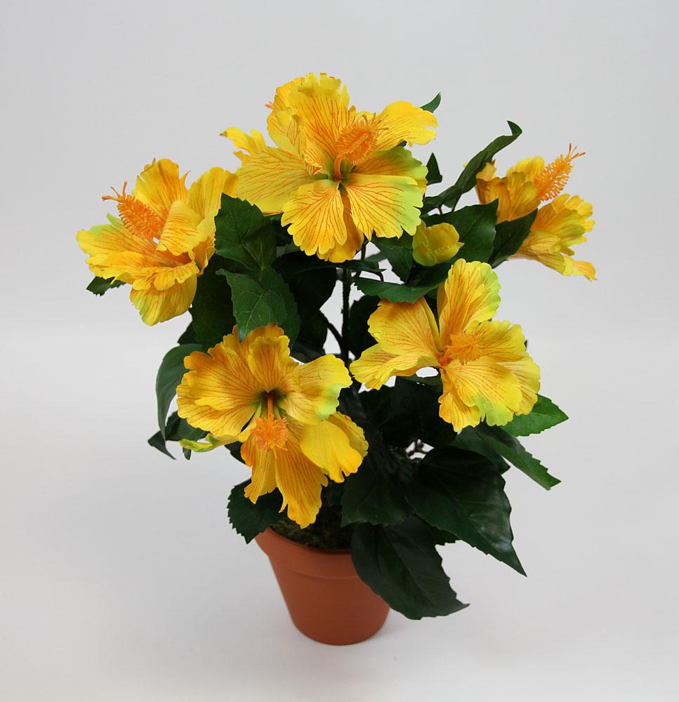 hibiskus 42cm gelb ga kunstpflanzen k nstliche pflanzen ebay. Black Bedroom Furniture Sets. Home Design Ideas