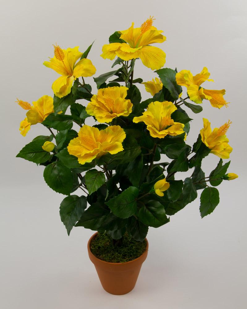 hibiskus 60cm gelb ga kunstpflanzen k nstliche pflanzen ebay. Black Bedroom Furniture Sets. Home Design Ideas
