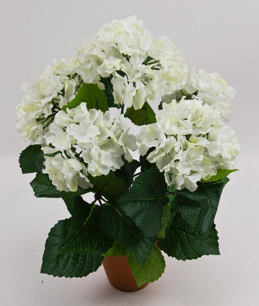 hortensienbusch gro 40cm wei pf kunstpflanzen k nstliche blumen hortensie ebay. Black Bedroom Furniture Sets. Home Design Ideas