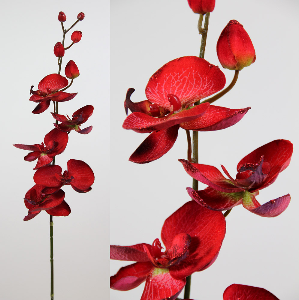 orchideen 88cm rot mit glitter ja k nstliche blumen ebay. Black Bedroom Furniture Sets. Home Design Ideas