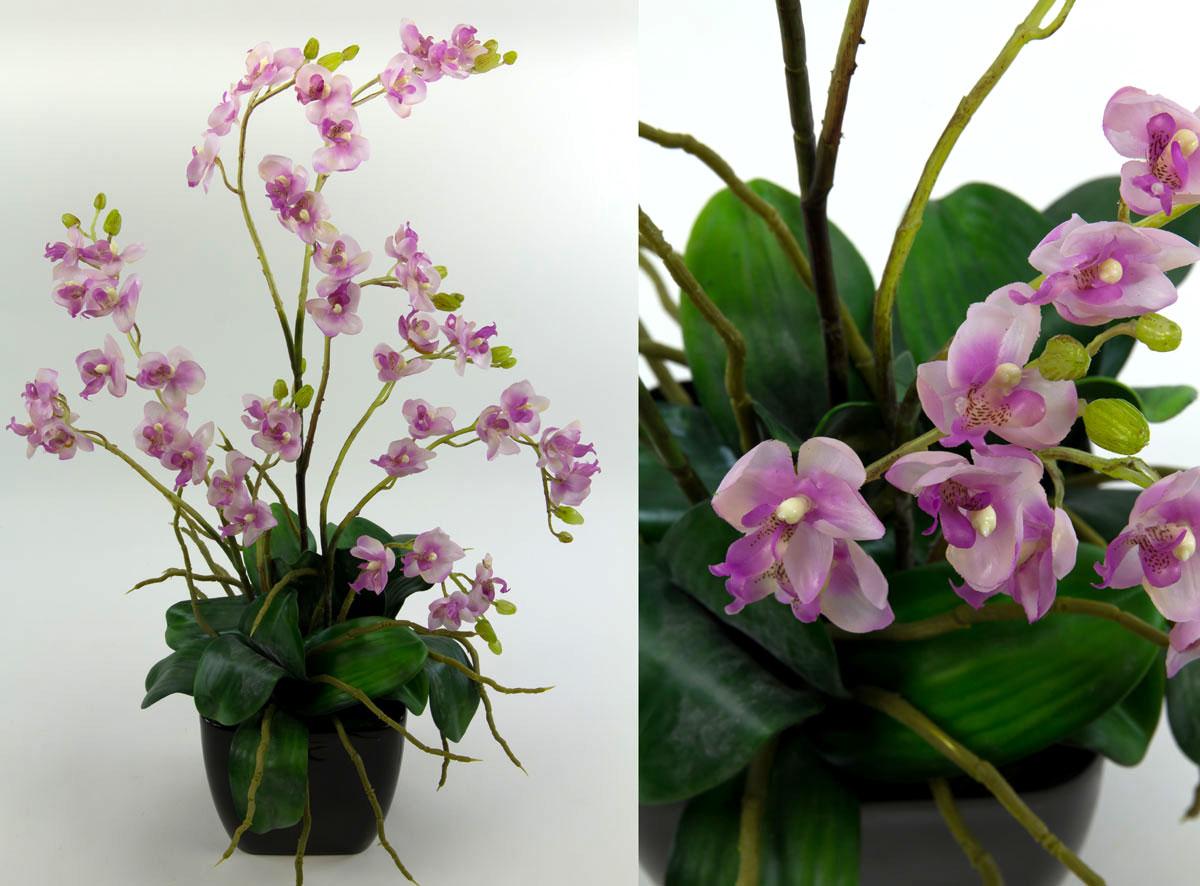Orchideen arrangement flieder im schwarzen dekotopf ja kunstblumen kunstpflanzen ebay - Orchideen arrangement ...