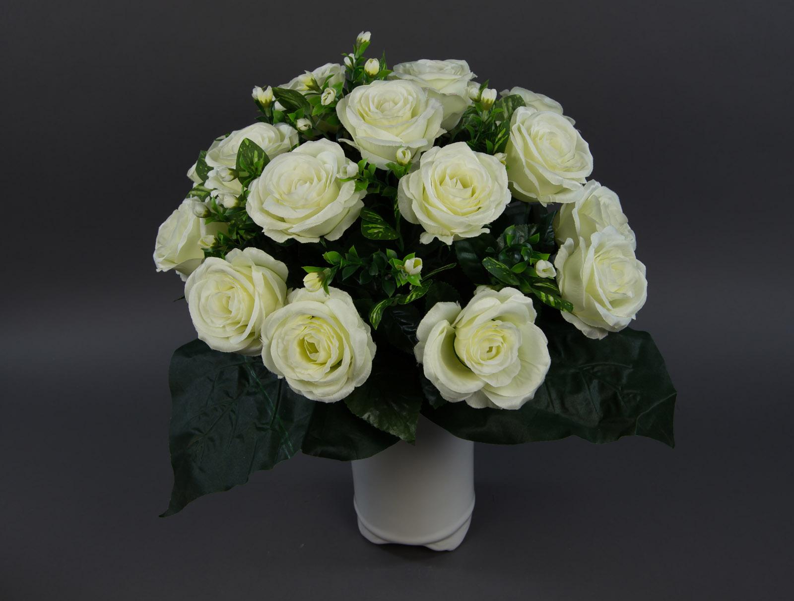 gro er rosenstrau 45x45cm wei creme lm seidenblume k nstliche rose kunstblumen ebay. Black Bedroom Furniture Sets. Home Design Ideas