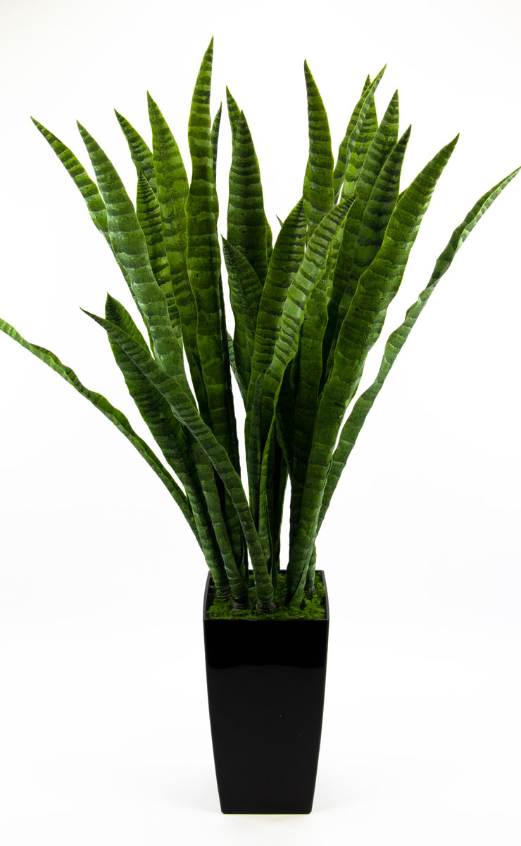 sansevieria im schwarzen hochtopf 90cm ar kunstpflanzen. Black Bedroom Furniture Sets. Home Design Ideas