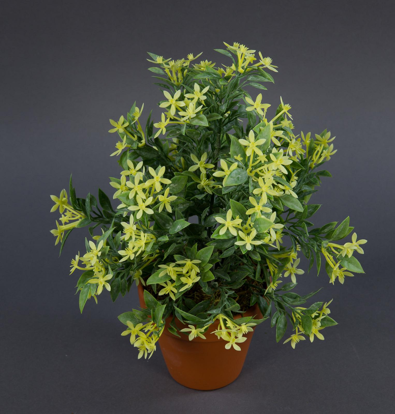 sternbl tenbusch 26cm gelb im topf ga kunstpflanzen k nstliche pflanzen ebay. Black Bedroom Furniture Sets. Home Design Ideas