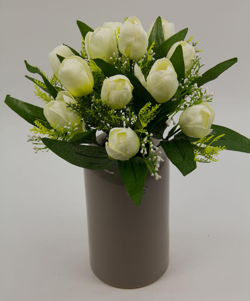 tulpenstrau 32x28cm wei mit 12 tulpen ig seidenblumen kunstblumen ebay. Black Bedroom Furniture Sets. Home Design Ideas