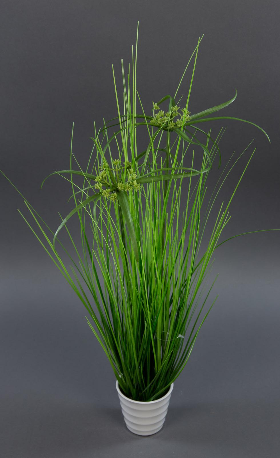zyperngras 58cm im wei en dekotopf dp k nstliches gras kunstpflanzen grasbusch ebay. Black Bedroom Furniture Sets. Home Design Ideas