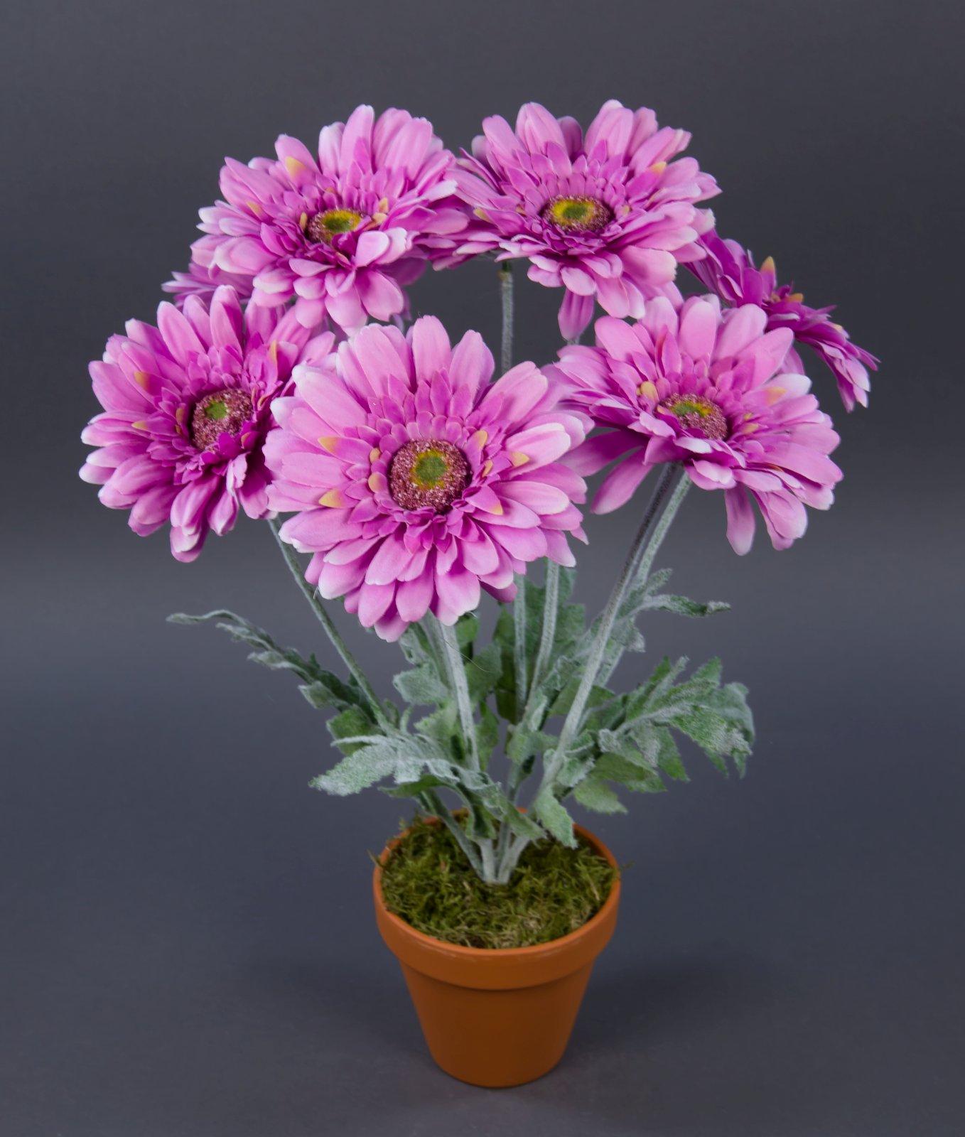 gerbera 45cm lavendel im topf lm kunstpflanzen k nstliche pflanzen kunstblumen ebay. Black Bedroom Furniture Sets. Home Design Ideas