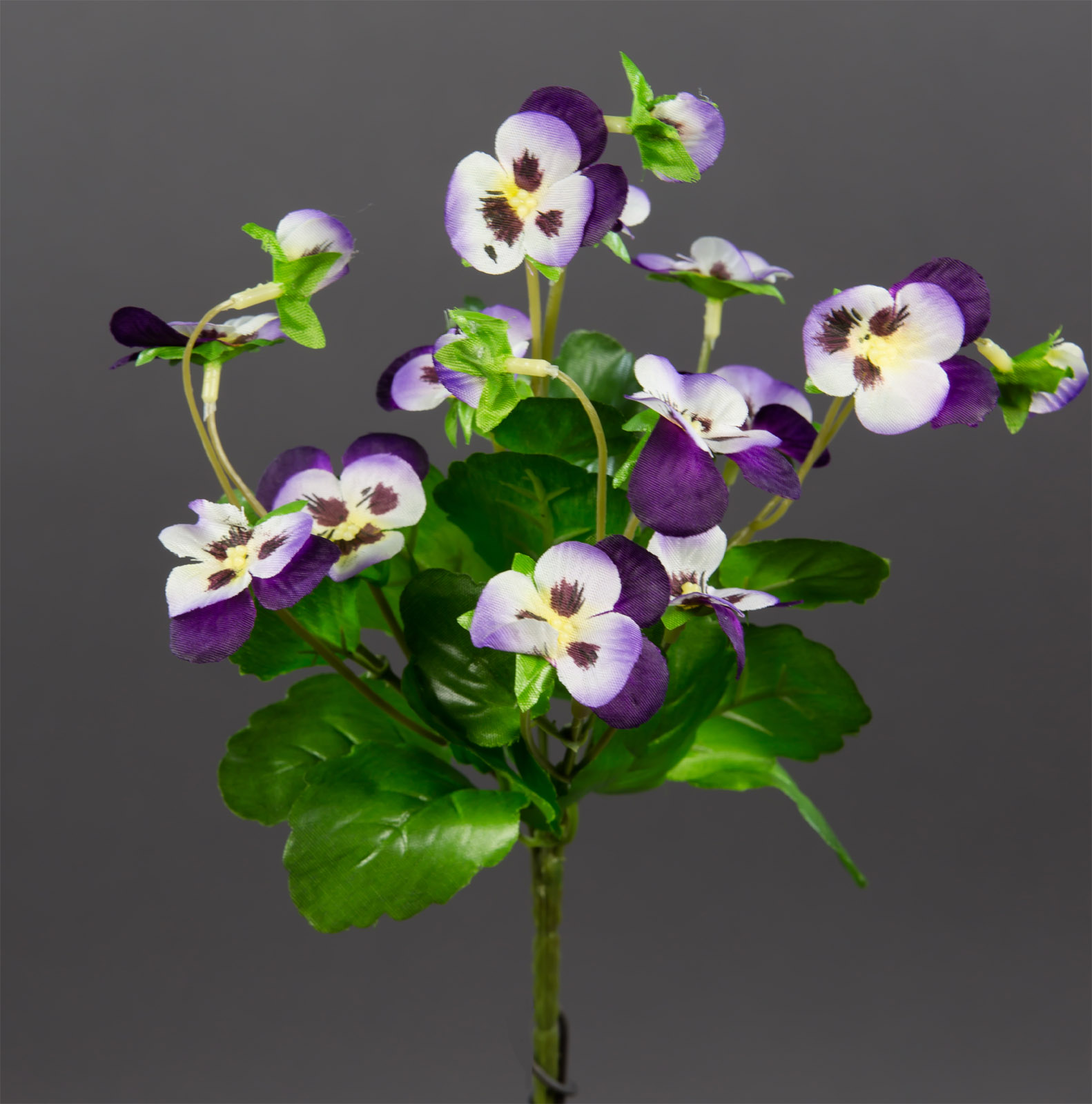 hornveilchen 22cm violett creme fi k nstliche blumen stiefm tterchen kunstblumen ebay. Black Bedroom Furniture Sets. Home Design Ideas