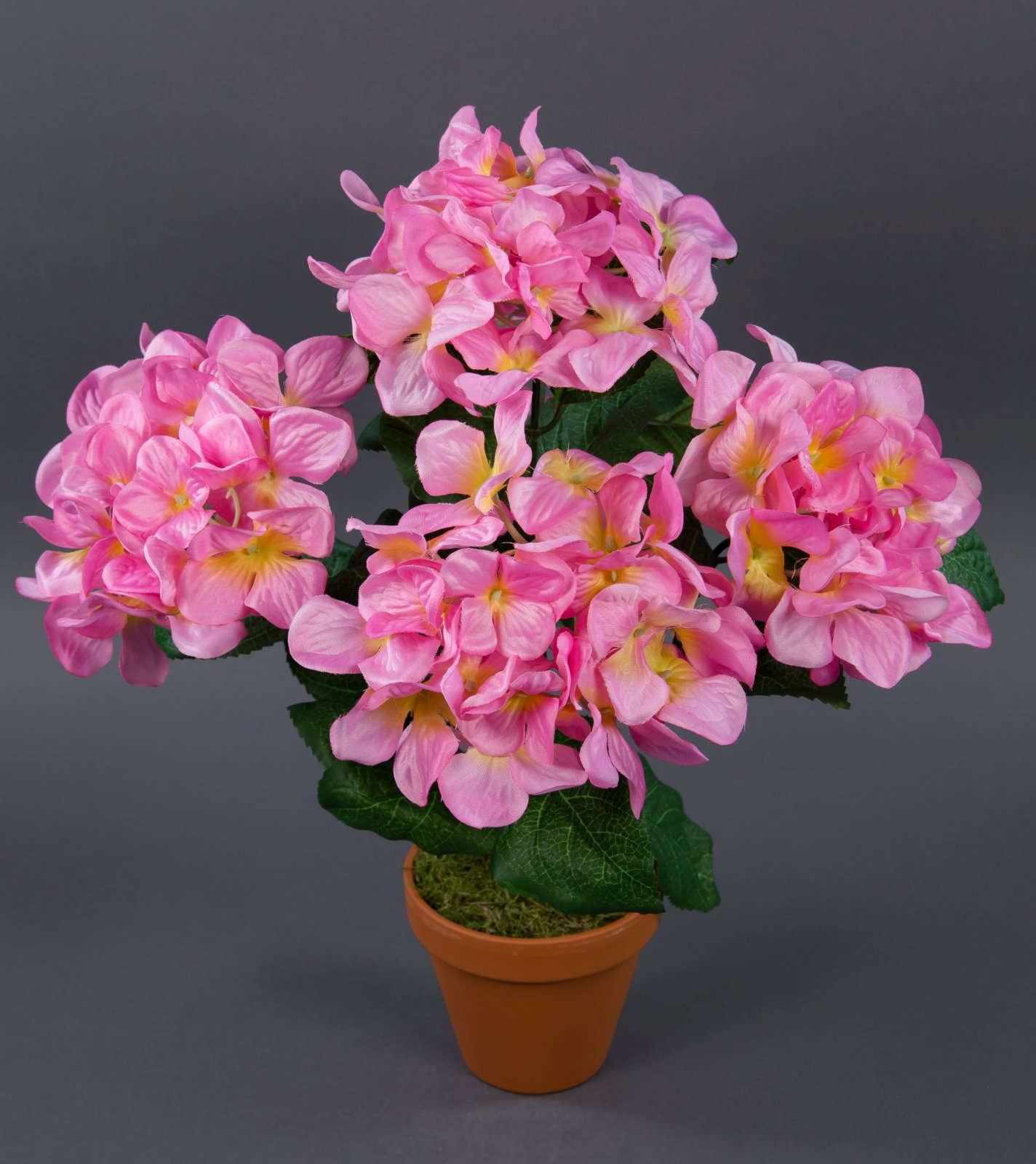 Hortensienbusch groß 42cm rosa im Topf LM künstliche Blumen Pflanzen Hortensie