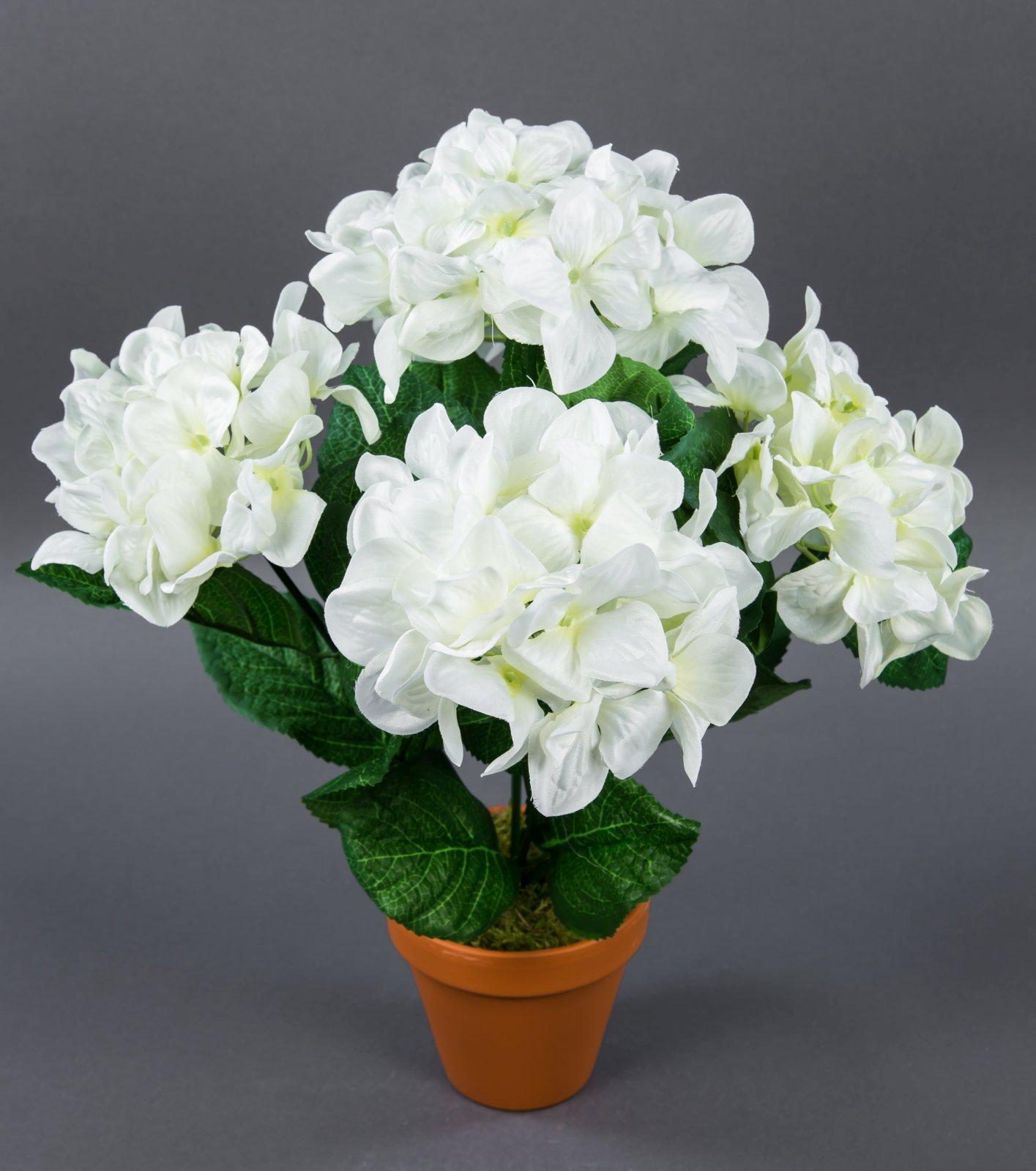 hortensienbusch groß 42cm weiß im topf lm künstliche blumen pflanzen