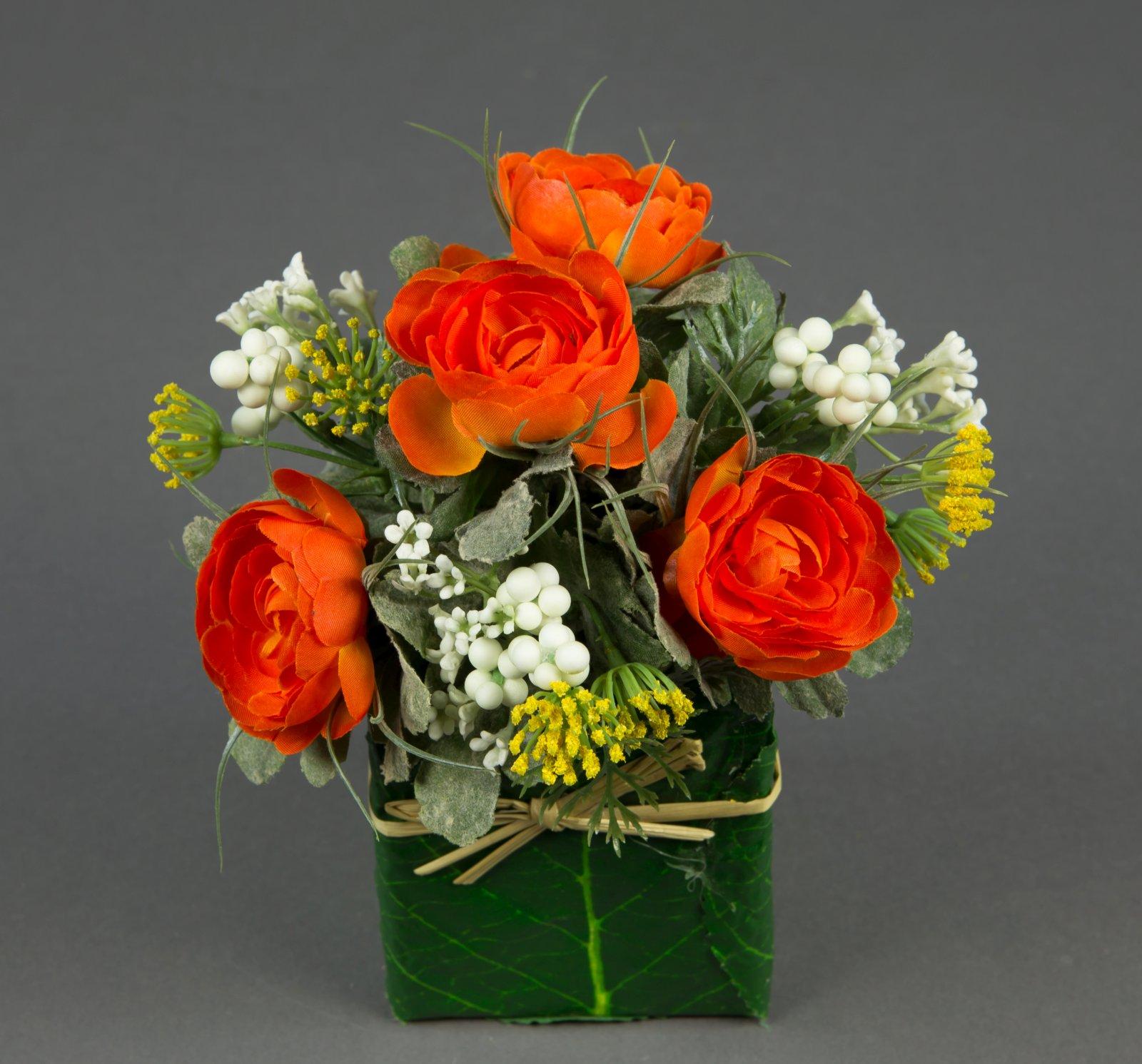 ranunkelgesteck 20x16cm orange lm kunstblumen k nstliche blumen ranunkel gesteck ebay. Black Bedroom Furniture Sets. Home Design Ideas