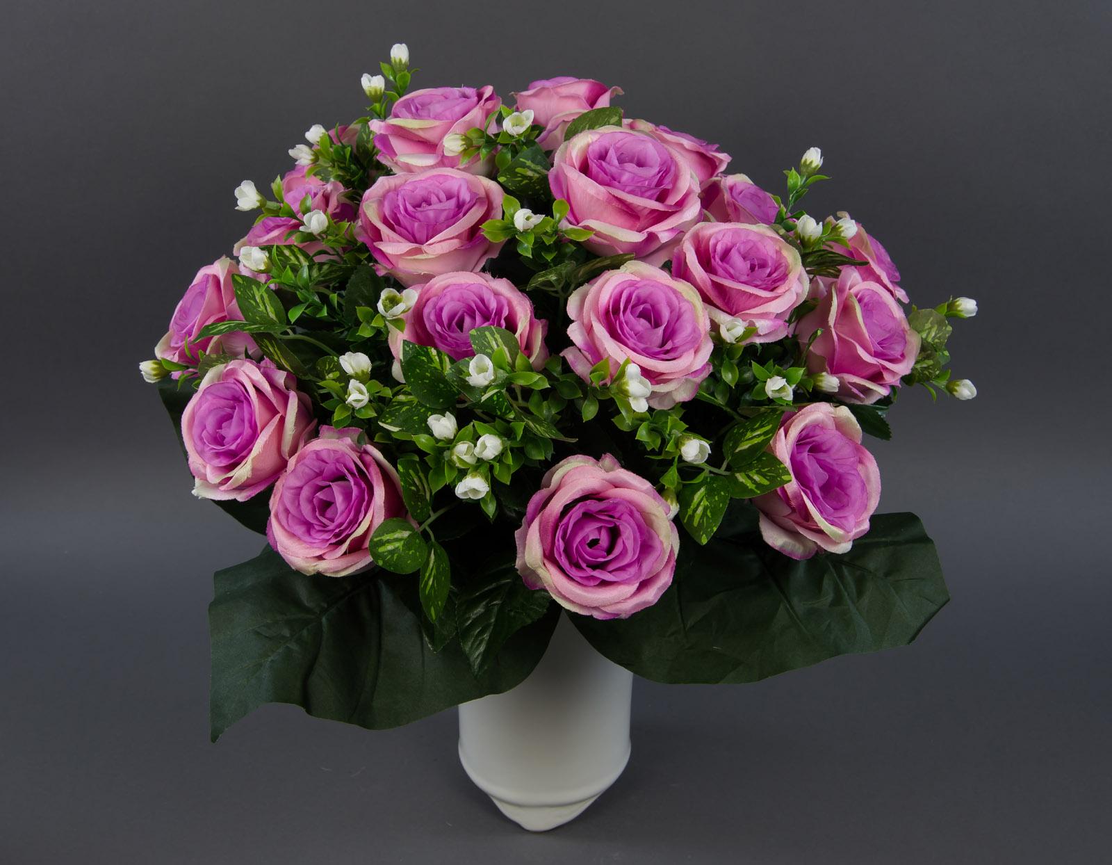 gro er rosenstrau 45x45cm fuchsia rosa creme lm k nstliche rosen kunstblumen 4260355156784 ebay. Black Bedroom Furniture Sets. Home Design Ideas