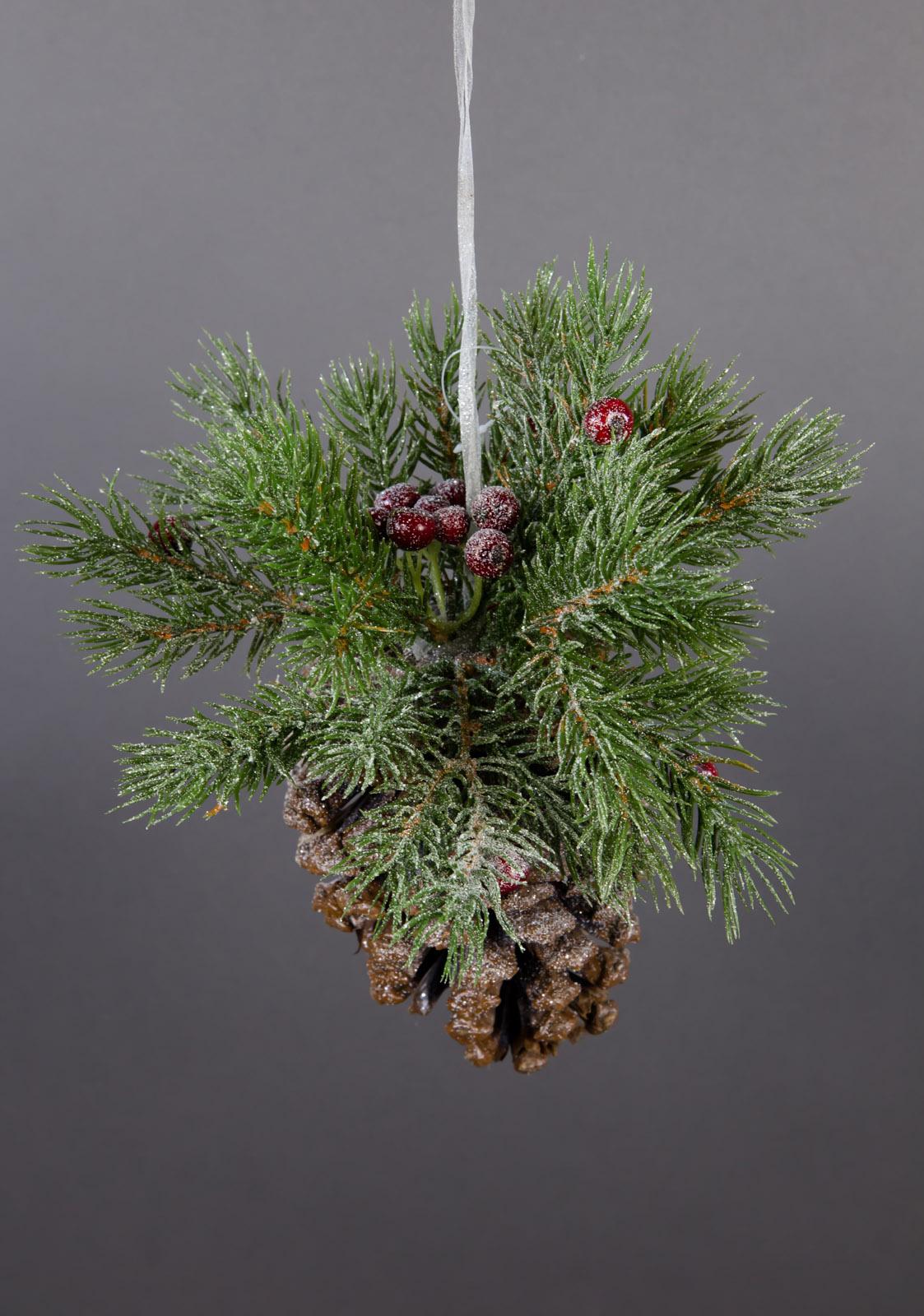tannenzapfen mit deko rote beeren zum h ngen 24cm dp kunstpflanzen kunstblumen ebay. Black Bedroom Furniture Sets. Home Design Ideas